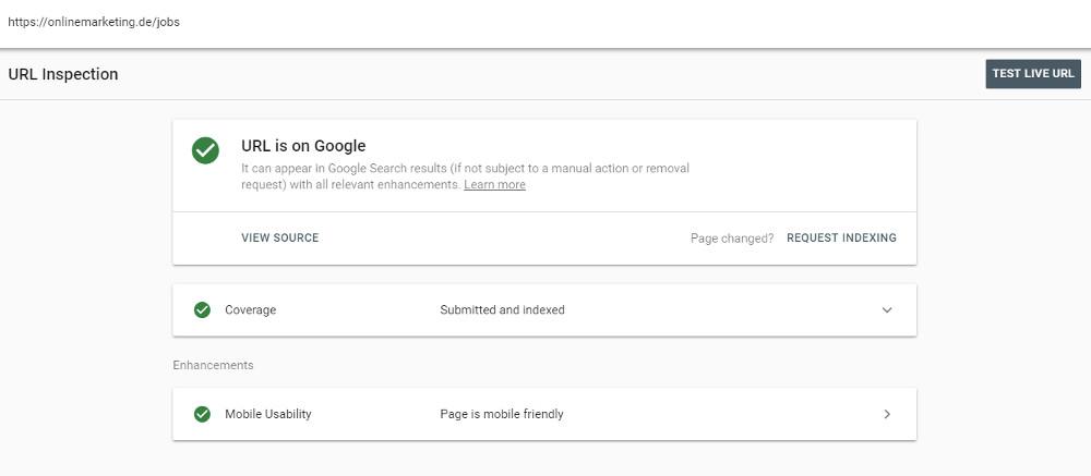 Das URL Inspection Tool gibt dir einen ersten Überblick. Screenshot von OnlineMarketing.de